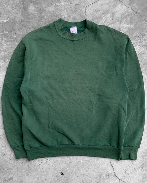 Faded Forest Green Crewneck Sweatshirt - 1990s