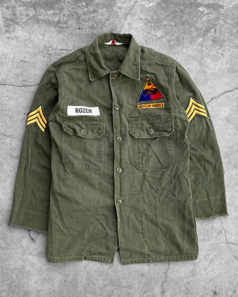 "BVD Military Green ""Hell On Wheels"" Patched Shirt - 1960s"