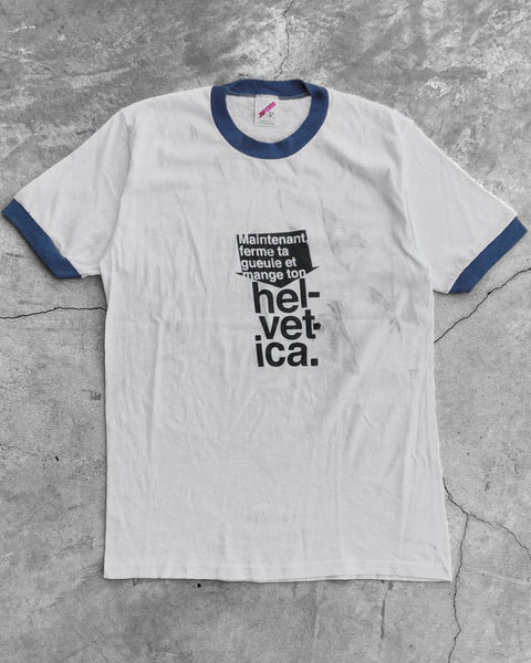 "Single Stitched  ""Helvetica"" Ringer Tee - 1980s"