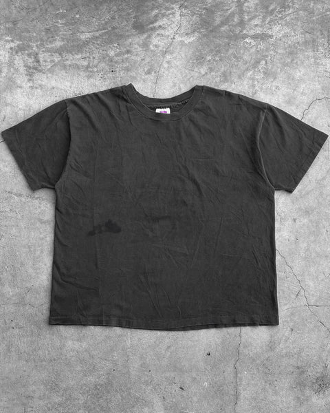 Hanes Single Stitched Faded Black Blank Tee - 1990s
