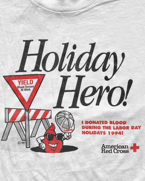 "Fruit Of The Loom ""Holiday Hero"" Red Cross Tee - 1990s"