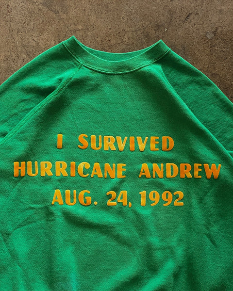 "Tultex ""I Survived Hurricane Andrew"" Raglan Sweatshirt - 1990s"