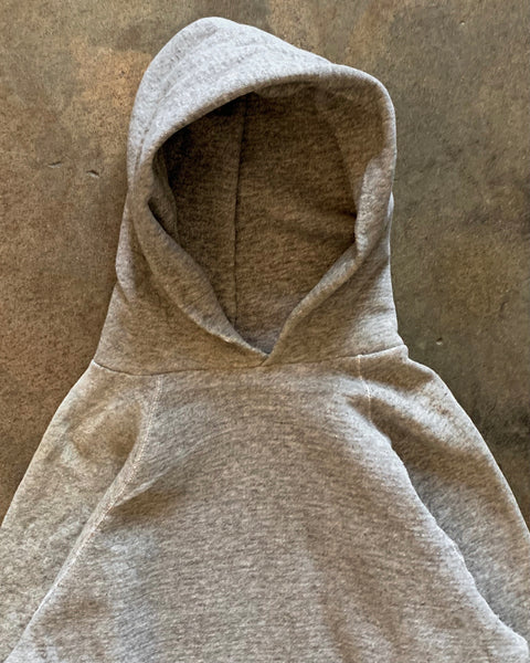 Heather Grey Raglan Hooded Sweatshirt - 1980s