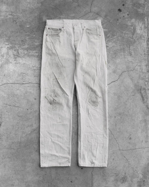 Levi's 501 White Painted Distressed Jeans