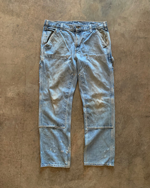 Carhartt Oil Stained Denim Double Knee Work Pant - 1990s