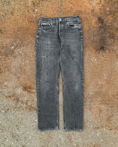 Levi's 501 Faded Black Repaired Jeans - 1990s