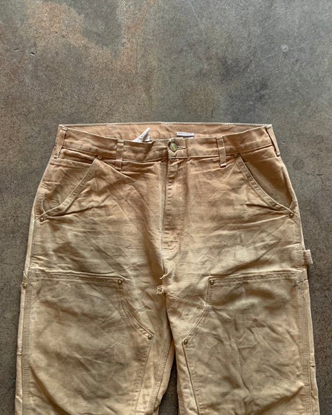 Carhartt Tan Oil-Stained Distressed Double Knee Work Pant - 1990s