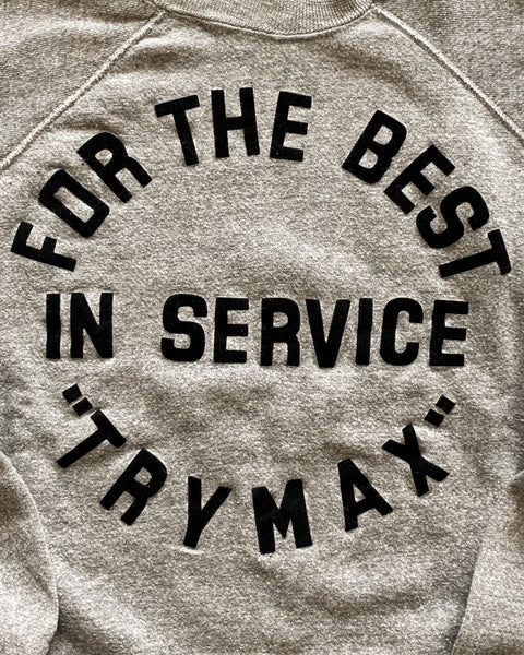"Heather Grey ""For The Best In Service"" Raglan Sweatshirt - 1980s"