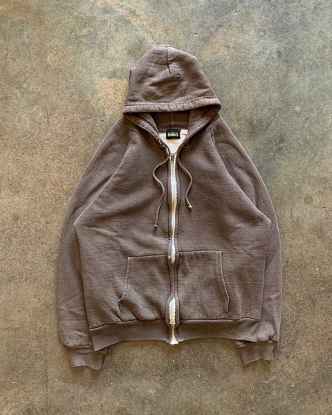 Brown Zip-Up Raglan Cropped Hooded Sweatshirt - 1970s