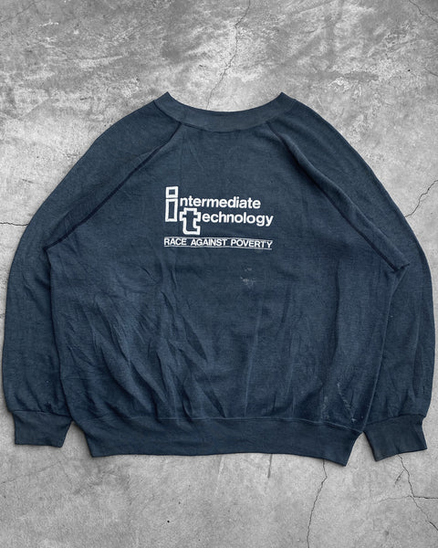"Navy Blue ""Intermediate Technology"" Raglan Sweatshirt - 1980s"