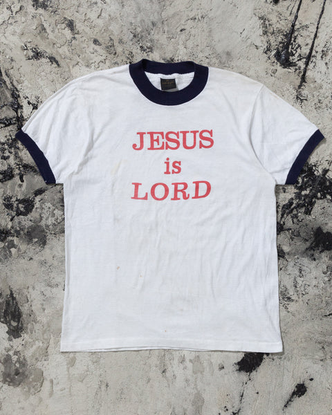 "Single Stitched ""Jesus Is Lord"" Ringer Tee - 1980s"