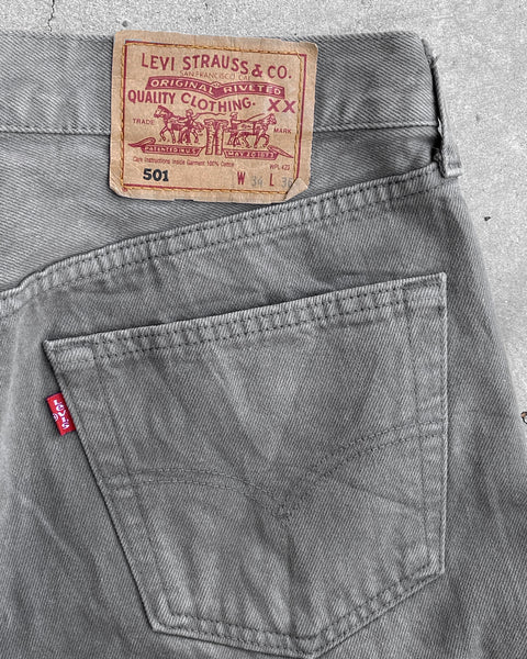 Levi's 501 Sun Faded Grey Rolled Hem Jeans - 1990s