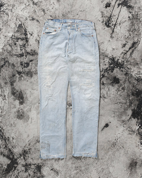 Levi's 501 Distressed & Repaired Light Wash Released Hem Jeans - 1990s