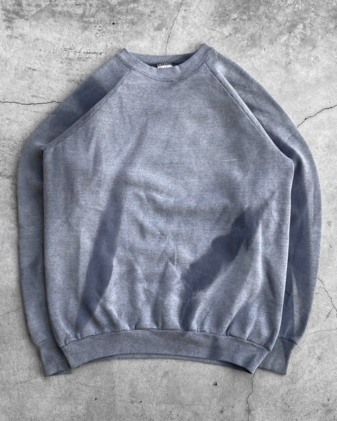 Fruit of the Loom Sun Bleached Navy Raglan Sweatshirt - 1990s