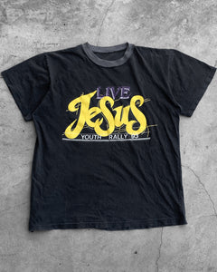 "Single Stitched ""Live Jesus"" Contrast Collar Tee - 1990s"