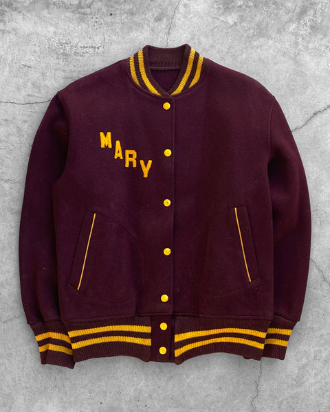 "Wine ""Mary"" Wool Varsity Jacket - 1970s"