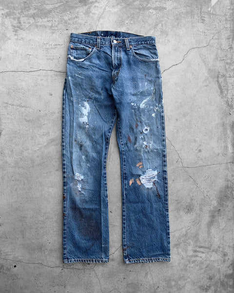 Levi's 517 Painted Flared Blue Jeans