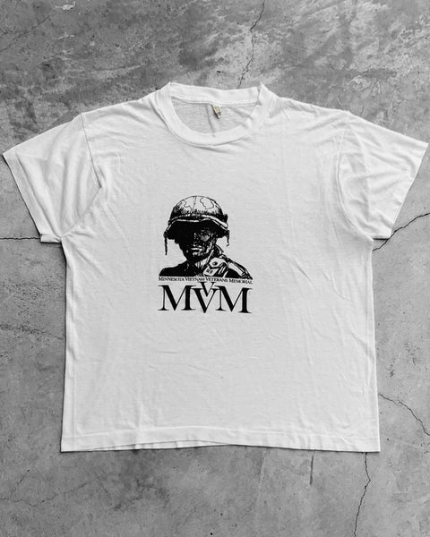"""MVVM"" White Single Stitch Tee - 1980s"