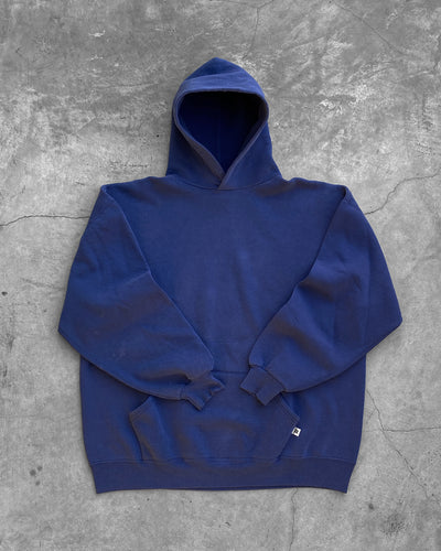 Russell Cobalt Blue Hooded Sweatshirt - 1990s