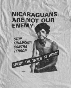"Single Stitched ""Nicaraguans Are Not Our Enemy"" Political Tee - 1980s"