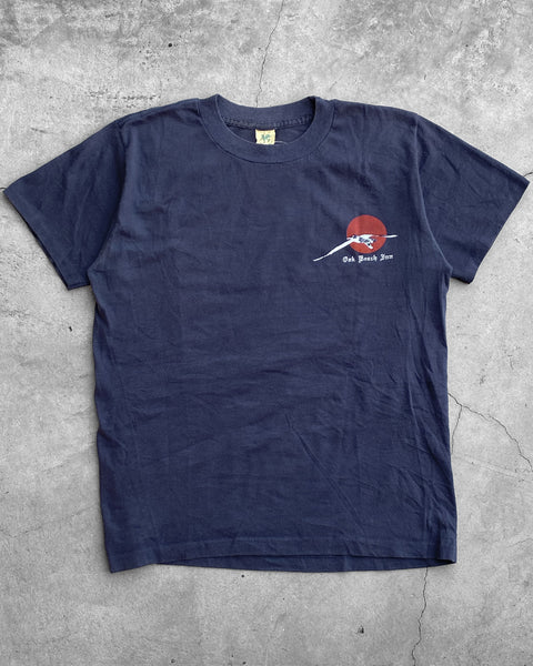 "Single Stitched Navy Blue ""Old Beach Inn"" Tee - 1990s"