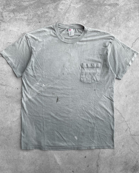 Hanes Sun Faded Sea Foam Green Pocket Tee - 1990s