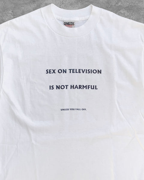 "Single Stitched ""Sex On Television Is Not Harmful"" Tee - 1990s"