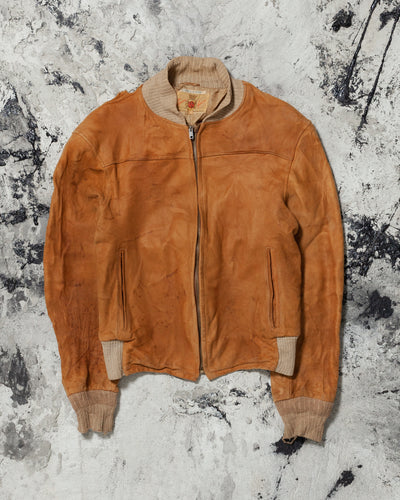 Camel Distressed Suede Bomber Jacket - 1950s