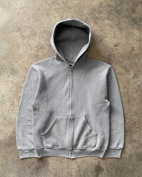 Faded Grey Zip-Up Hooded Sweatshirt - 1990s