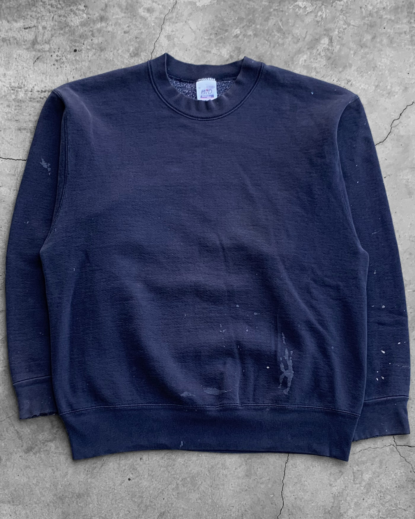 Stained Navy Crewneck Sweater - 1990s