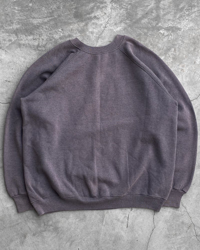 Faded Purple Grey Raglan Crewneck Sweatshirt - 1990s