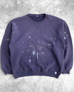 Russell Sun Faded Navy Painters Crewneck Sweater - 1990s
