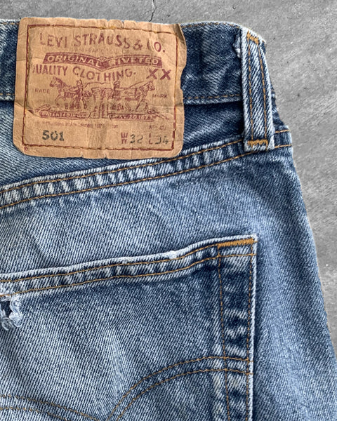 Levi's 501 Repaired Faded Jeans Jeans - 1990s