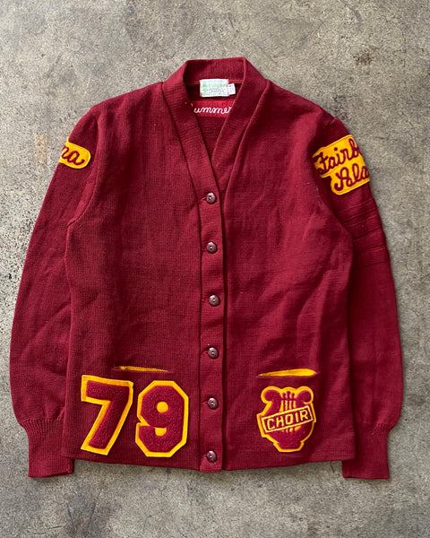 "Burgundy ""Fairbanks Alaska Choir"" Wool Cardigan - 1979"