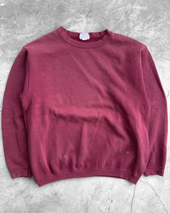 Magenta Red Crewneck Sweater - 1990s