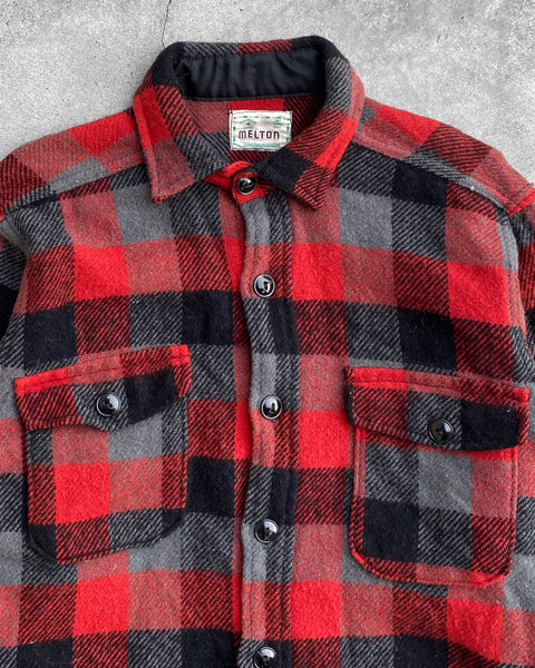 Buffalo Plaid Red Flannel Shirt - 1960s