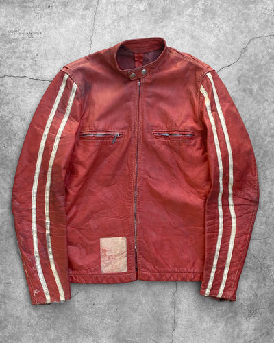 Distressed Leather Cafe Racer Moto Jacket - 1960s