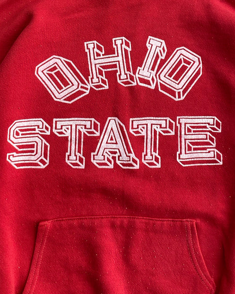 "Scarlett Red ""Ohio State"" Cropped Hoodie - 1970s"