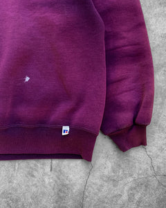 Russell Sun Faded Maroon Crewneck Sweater - 1990s