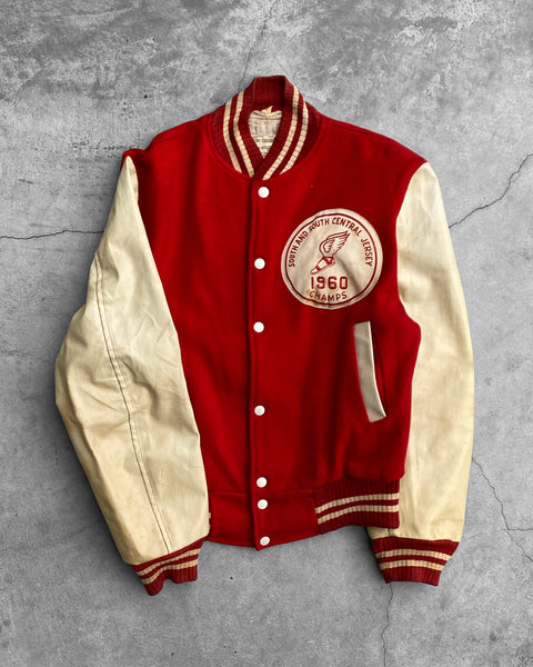 "Red ""South And South Central"" Leather Varsity Jacket - 1960s"