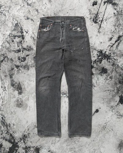 Levi's 501 Distressed Faded Grey Repaired Jeans - 1990s