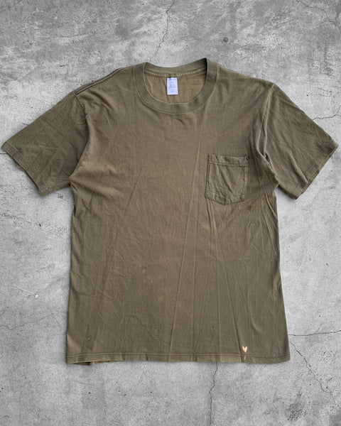 Single Stitched Olive Pocket Tee - 1990s