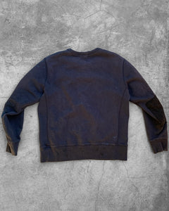Black Sun Faded French Terry Sashiko Stitched Crewneck Sweater - 1950s