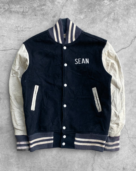 """Sean"" Leather Sleeve Varsity Jacket - 1980s"
