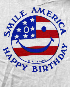 """Smile America"" Cut Off Single Stitch Tee - 1970s"