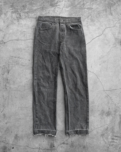 Levis 501 Crotch Repair Released Hem Grey Faded Jeans - 1990s