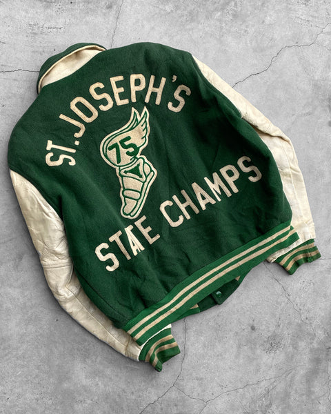 "Pine Green ""St. Joseph's State Champs"" Varsity Jacket - 1970s"