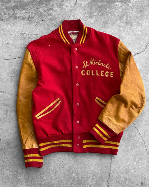 """St. Michaels College"" Leather Sleeve Varsity Jacket - 1960s"