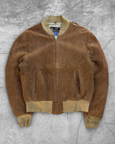 Tobacco Brown Suede Bomber Jacket - 1970s