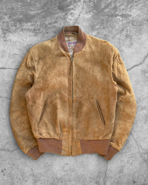 Tan Suede Bomber Jacket - 1960s